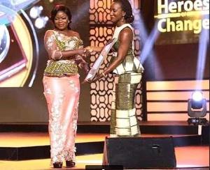 Afia Pokua receiving her awards on Friday night