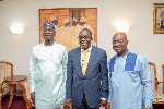 Speaker Bagbin (m) with leaders of parliamentary caucuses