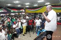 Mahama addressing some residents of mining communities