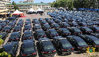 The 200 saloon cars given to the Ghana Police Service by the President
