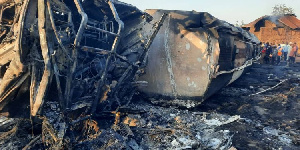 A two-year-old boy perished when the speeding fuel tanker was involved in an accident