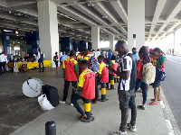 Some supporters at the Kotoka International Airport