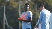 Joseph Aidoo with a teammate