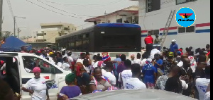 Some party enthusiasts at the NPP Head Office