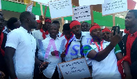 NDC youth demonstrating against government's flagship employment program, NABCO