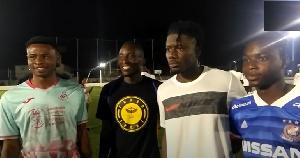 Ghana international Mohammed Salisu and young footballers in Madina