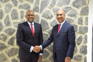 UBA Group Chairman, Tony Elumelu (left) with the new Non-Executive Director, Abdoul-Aziz Dia