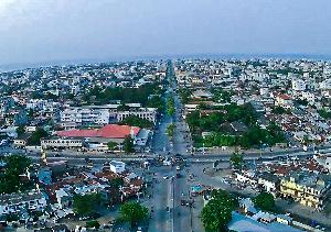 Aerial shot of Cotonou, capital of Benin