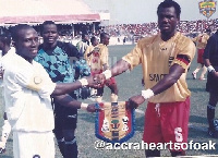 Hearts and Kotoko captains pose for the cameras during the 2004 Confed Cup final