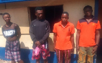 From right Kwame Adoboye, David Akusina (receiver), Abu Mohammed and Alima Mumuni in police grip