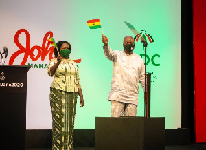 John Dramani Mahama with his running mate, Prof. Naana Jane Opoku-Agyemang