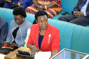 State minister for Primary Education Rosemary Seninde addressing Parliament