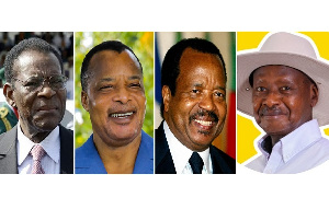 Rawlings' peers still in power as of 2021. L-R: Nguema, Sassou, Biya, Museveni.