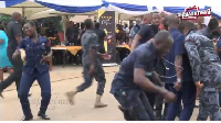 Some police officers dancing to Shata Wale's 'kakai'