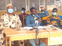 Nana Kumanini (middle) stressing a point at a news conference