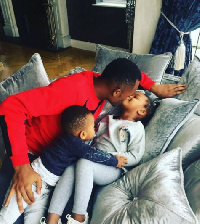 Jordan Ayew with his son and daughter