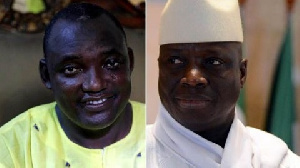 President Adama Barrow (left) and exile Yahya Jammeh