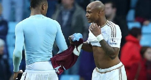 Andre Ayew and Jordan Ayew after the game