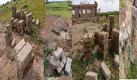 The substandard blocks being used to construct the classroom block