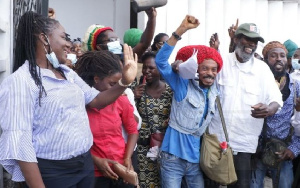 The Rastafarians jubilating after the court decision