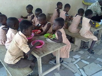 Some of the children fed by Menaye's foundation