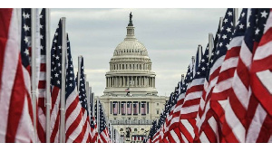 The Capitol building is surrounded by American flags on the National Mall (AFP)