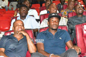 Asamoah Gyan (right) and Manager Samuel Anim Addo