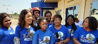 Members of the NPP Loyal Ladies volunteer group presenting the motorbikes to the party