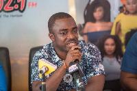 Head of Communication at Zylofon Media, Samuel Atuobi Baah addressing the media