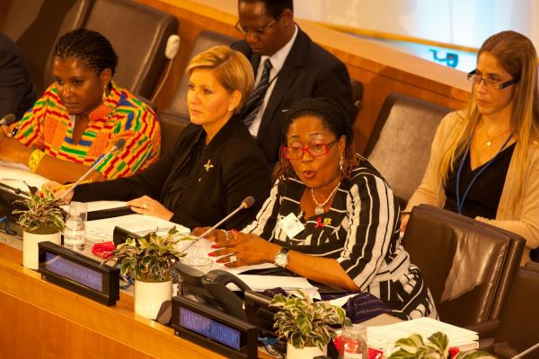 Mrs.Mahama speaking at the UN High-Level meeting on HIV and AIDS