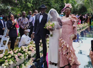 Ruto and wife with daughter June during her wedding ceremony