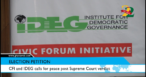 Election Petition: CFI and IDEG calls for peace post Supreme Court verdict