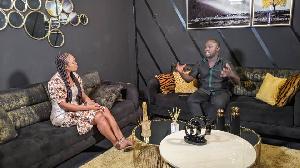 CEO of Lynx Entertainment, Richie Mensah with journalist Doreen Avio