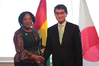 Ghana's Minister for Foreign Affairs, Shirley Ayorkor Botchwey and Japan's Taro Kono