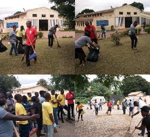 Health Services Workers Union cleaning the Sunyani Municipal Hospital