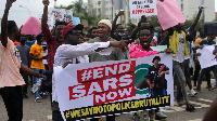 File Photo: Protesters at #EndSARS in Nigeria