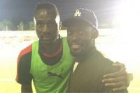 Former Chelsea midfielder Michael Essien wth Daniel Pappoe