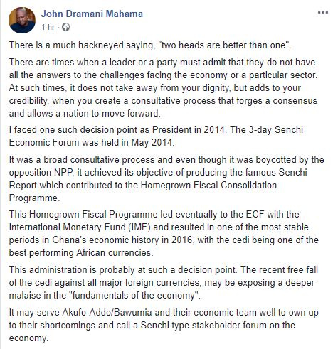 Admit you don't have all the answers – Mahama advises Akufo-Addo on cedi depreciation
