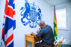 John Mahama signed a book of condolence in honour of the late Prince Philip