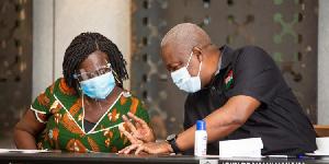 Prof Jane Naana Opoku-Agyemang (L) and John Mahama