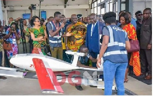 Dr. Bawumia inspecting the medical drone before takeoff