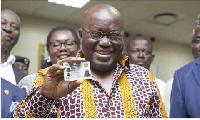 President Nana Addo Dankwa Akufo-Addo with his Ghana Card