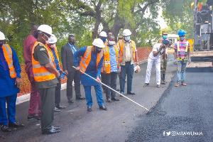 Dr Mahamudu Bawumia cuts sod for works to begin on GAF inner roads