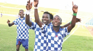 Kwame Boateng jubilating with colleagues