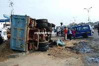 The two vehicles collided at the Awoshie junction on the N1 Highway