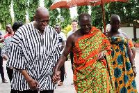 Otumfuo Osei Tutu II (right) with Herbert Mensah at Manhyia Palace