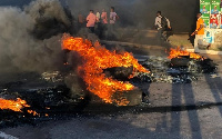 Tyres were set ablaze to protest against deaths on the Adenta-Madina highway