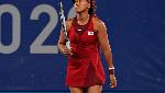 Naomi Osaka reacts after losing a point to Marketa Vondrousova, of the Czech Republic
