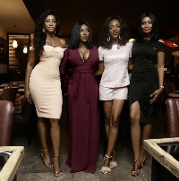 Yvonne Okoro with her sisters and Sandra Ankobiah