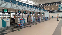 Terminal 3 of the Kotoka International Airport being disnifected by Zoomlion Ghana Ltd